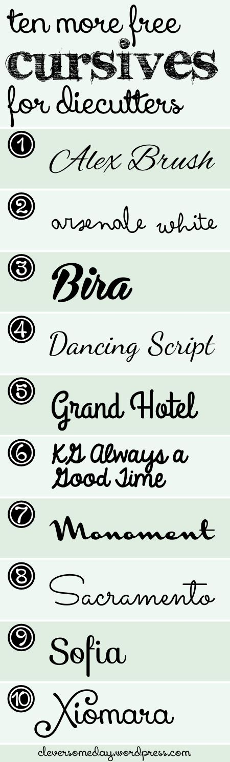 Here's a list of 10 more cursive fonts that cut and weld wonderfully, and, as you can see, they look great as well. Download at the links below the graphic. 1)Alex Brush 2)Arsenale White 3)Bira 4)D...