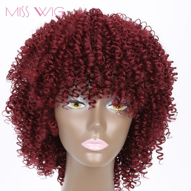 MISS WIG 16Inchs Red Kinky Curly Wigs Synthetic Wigs 280g Wigs for Black Women