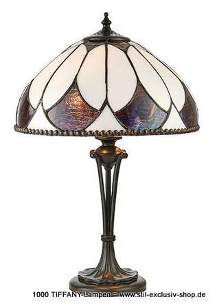 30ø Helle TIFFANY-Tisch-Lampe, Serie ARAGON.  30cm ø. 45cm h. 2 x E27, 60 W.  ein wunderschönes, dezentes Design mit geschwungenen Linien und Tiffany-Glaseinlagen in dezenten Bronze- und Cremetönen. Gepaart mit einer bronzefarben lackierten Fassung und kompatibel mit LED-Lampen