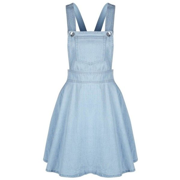 Timall Women Pocket Strap Denim A-line Sleeveless Casual Overalls... ($17) ❤ liked on Polyvore featuring dresses, blue sleeveless dress, sleeveless a line dress, strap dress, pocket dress and no sleeve dress
