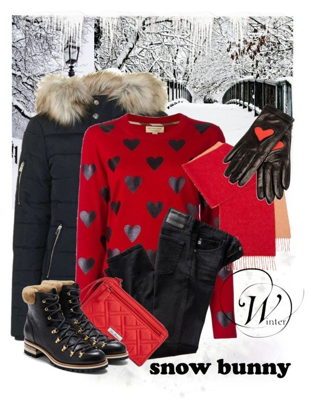 """❄️️snow bunny ❄️️"" by curvygirlamy ❤ liked on Polyvore featuring Topshop, Burberry, Loewe, AG Adriano Goldschmied, Vera Bradley, Rupert Sanderson and Boutique Moschino"