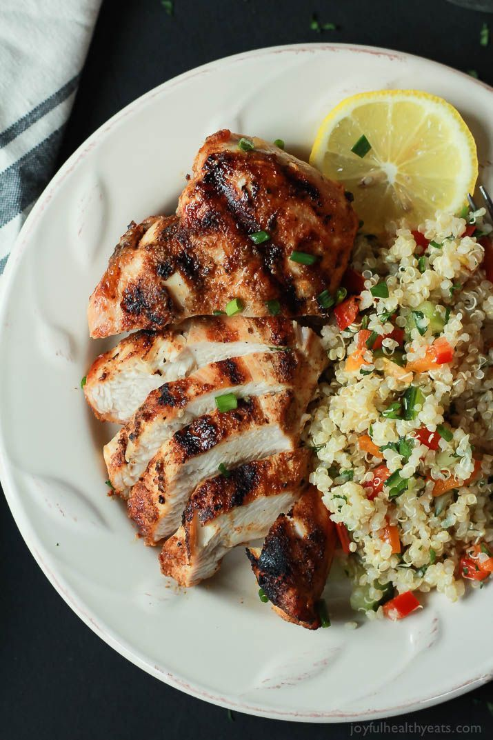 The BEST Grilled Chicken Recipe you'll ever have! Full of flavor from an easy spice rub, moist, and done in less than 20 minutes! | joyfulhealthyeats.com  #recipes #glutenfree #paleo