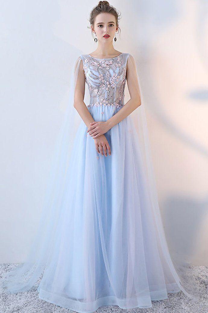 Light blue tulle lace long prom dress 9d9eb31a30d9