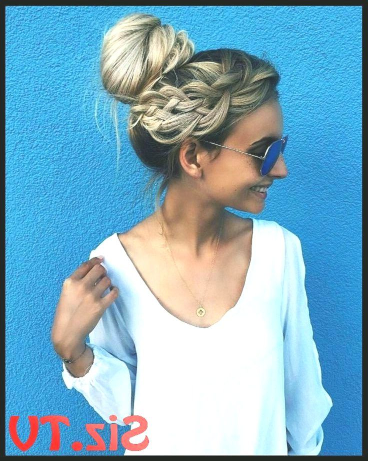 Messy Bun Blonde Messy Bun Side Braid Lazy Day Hairstyle Messy Hairstyles Summer...