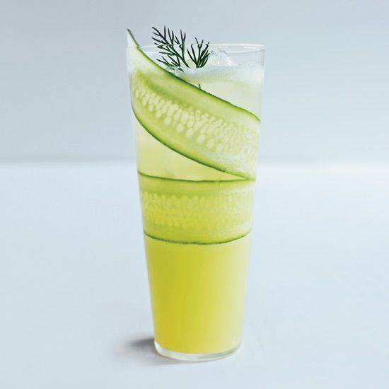 Cucumber-Lemonade Mocktail | A super-thin slice of cucumber pressed against the glass adds an artistic twist to this refreshing cocktail.