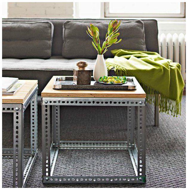 DIY sofabord eller sidebord lavet af varder fra stålreoler