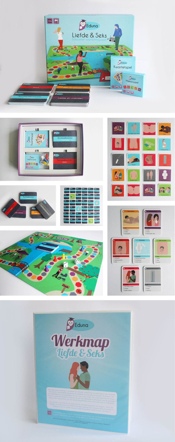 Educatie spel Eduna. Grafisch ontwerp en illustraties van educatief spel seksuele voorlichting en vriendschap. Bordspel, kwartetspel, memoryspel. www.maakvol.nl