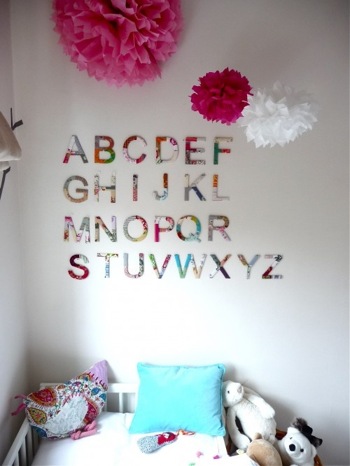 bright, magenta, pink, white walls, pops of color, alphabet on walls, happy nursery ideas: Wall Art, Toddlers Rooms, Alphabet Wall, Kids Stuff, Girls Bedrooms, Eclectic Kids, Bedrooms Ideas, Kids Design, Kids Rooms