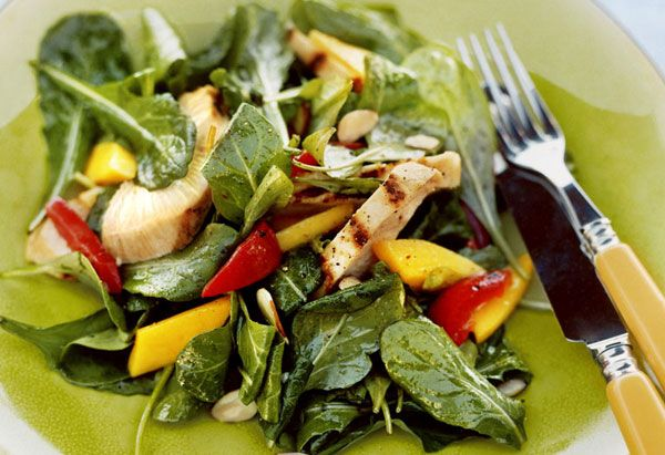 Mango is spectacular in a salad.  Add a little jicima, garbanzo beans and goat cheese and you are in business