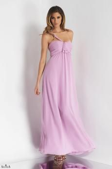 Orchid bella chiffon floor length dress with single shoulder strap, pleated empire waist, and bow detail.  Available in knee length as style 094S.