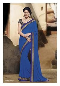 Brocade black blouse piece is glamor to this blue saree … Great design!