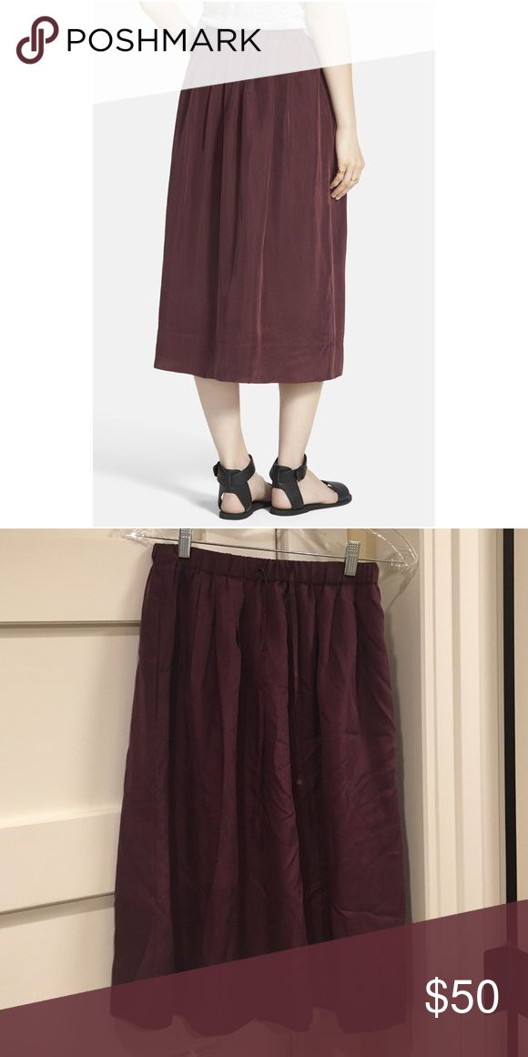 """Madewell silk Sunset Skirt This pull-on silk skirt makes a light, pretty pairing to, well, just about everything you own. A full drapey midi, it's a season-spanning, front-of-the-closet pick.   •Full midlength skirt. •27 1/2"""" long. •Elastic waistband. •Pockets. Madewell Skirts Midi"""
