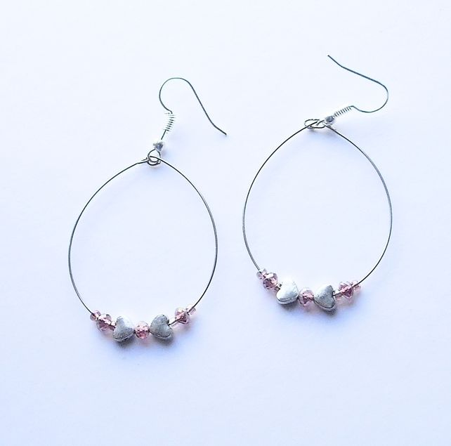 Silver Heart and Purple Crystal Bead Hoop Earrings £4.50