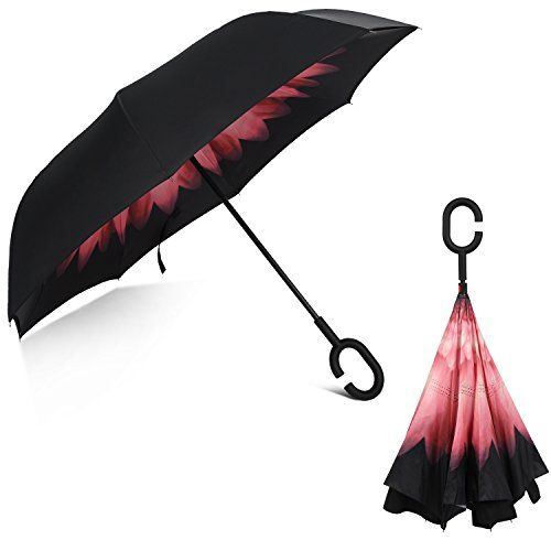 Rainlax Inverted Umbrella Double Layer Windproof Anti UV Protection Umbrellas for Car Rain Outdoor with C-Shaped Handle (Black,Pale Pink) -- You can find out more details at the link of the image.