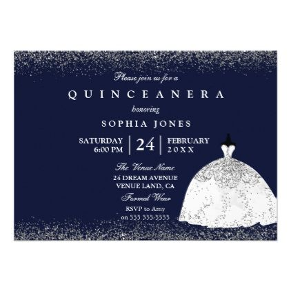White Silver Glitter Dress Quinceanera Party Card - birthday cards invitations party diy personalize customize celebration