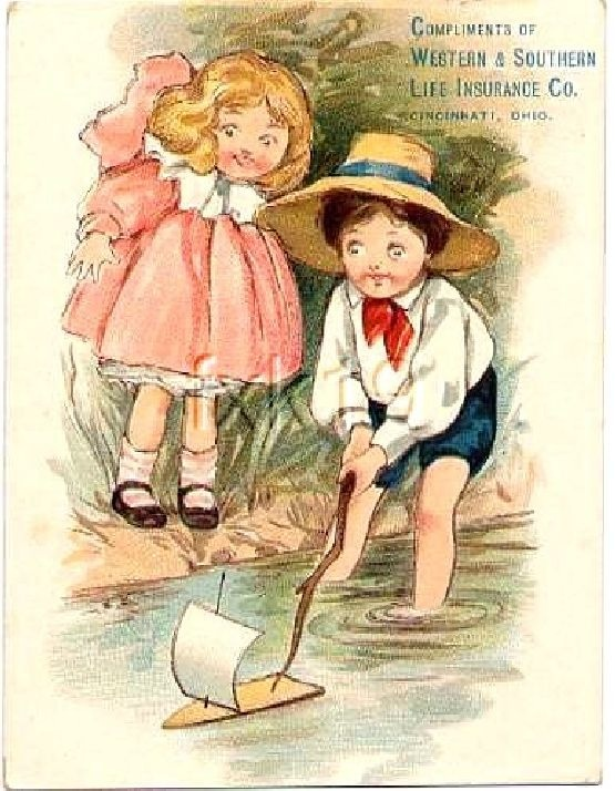 Western & Southern Life Insurance Co. vintage advertisement. Little boy and girl with sailboat.
