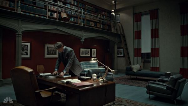 From Hannibal. Dr. Lecter's office.  Love the drapes.