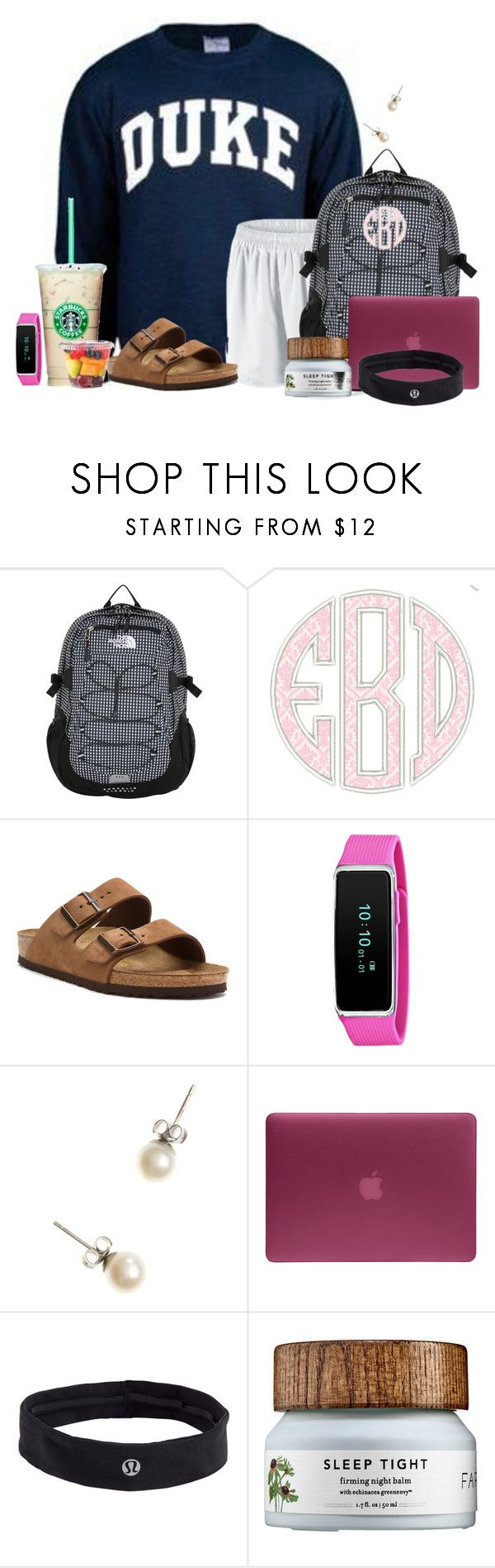 """Everything you need to have a good finals week;)"" by flroasburn ❤ liked on Polyvore featuring NIKE, The North Face, Birkenstock, J.Crew, Incase and lululemon"