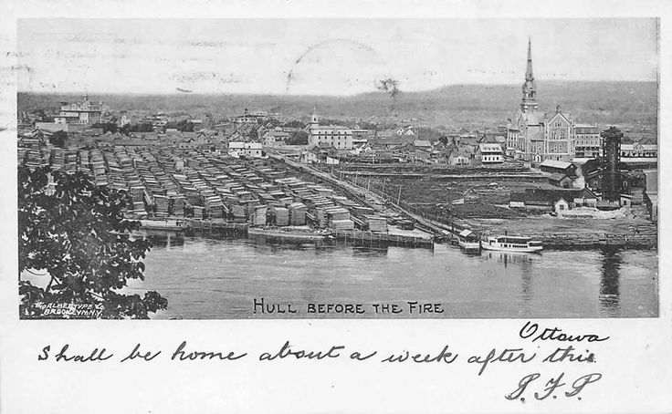 looking over the Ottawa River from Parliament Hill, just before the Great Fire of 1900 wiped out two thirds of Hull. Massive lumber piles on the right (possibly belonging to JR Booth). Original EB Eddy Sulphite Plant on the right.