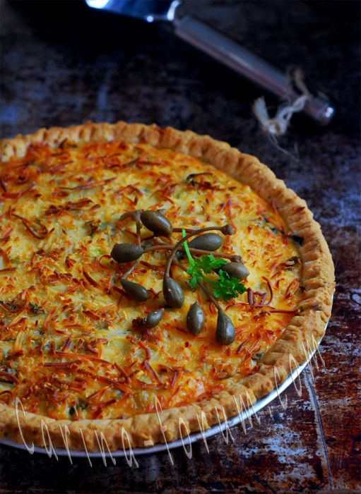 Tuna Potato Quiche With Capers, Onions and Egg-Cream Custard
