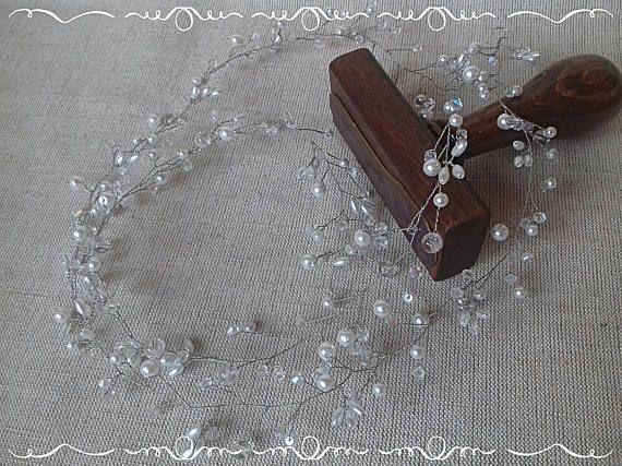 Handmade white or ecru bridal wedding crystal pearl hair