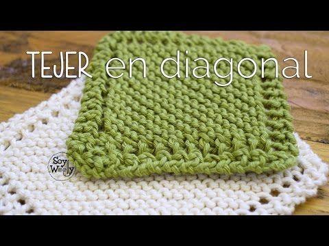 La forma más fácil de TEJER una MANTA: tejido EN DIAGONAL - YouTube