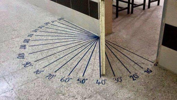 Protractor on classroom floor. https://www.facebook.com/WeAreTeachers