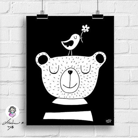 Bear and bird kids room printable art by SementinhasCorDeRosa. Monochrome nursery idea! * Minimalistische designs voor de kinderkamer * dekoration für kinderzimmer * barnkammare * barnrum * børneværelse indretning * wanddecoratie * decorazioni per le pareti della cameretta dei bambini * fai da te * DIY * детская комната декор * 子供の部屋のインテリア *