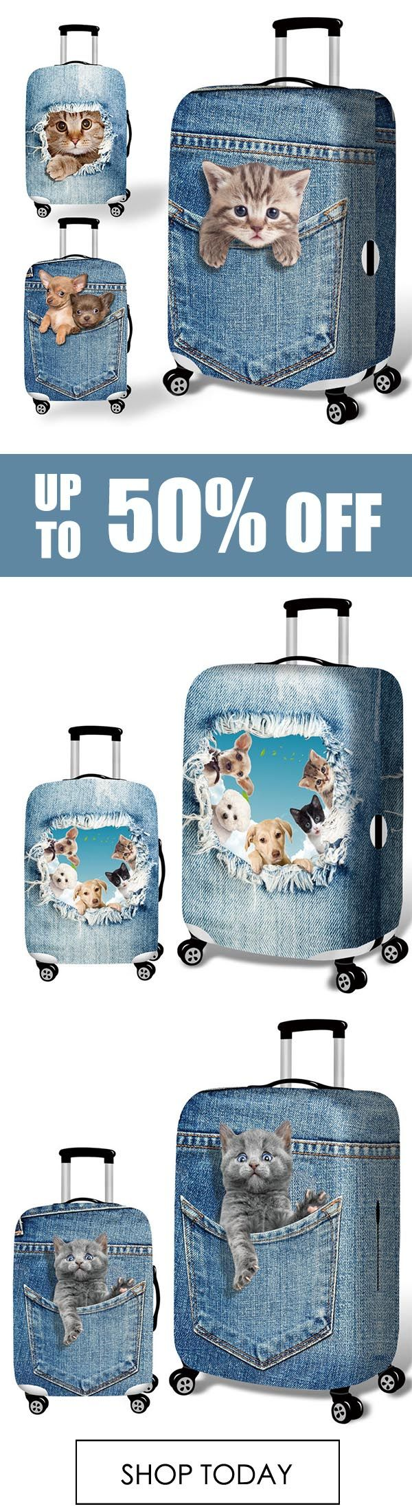 3D Cute Cat Dog Elastic Luggage Cover Trolley Case Cover Durable Suitcase Protector for 18-32 Inch Case Warm Travel Accessories. #travel #animal #art