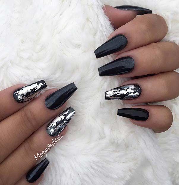 White Glitter Nails Black Coffin Nails