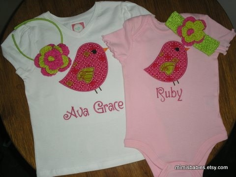 Monogrammed applique shirts - 24mos!Shirts Ideas, Embroidery Sewing, Birds Shirts, Cute Outfit, Applique Shirts, Fonts Appliques, Monograms Appliques, Baby Cami, Wall Ideas