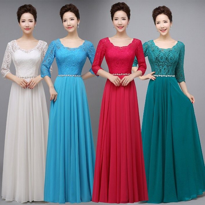 Blue, teal, wine modest bridesmaids wedding dresses