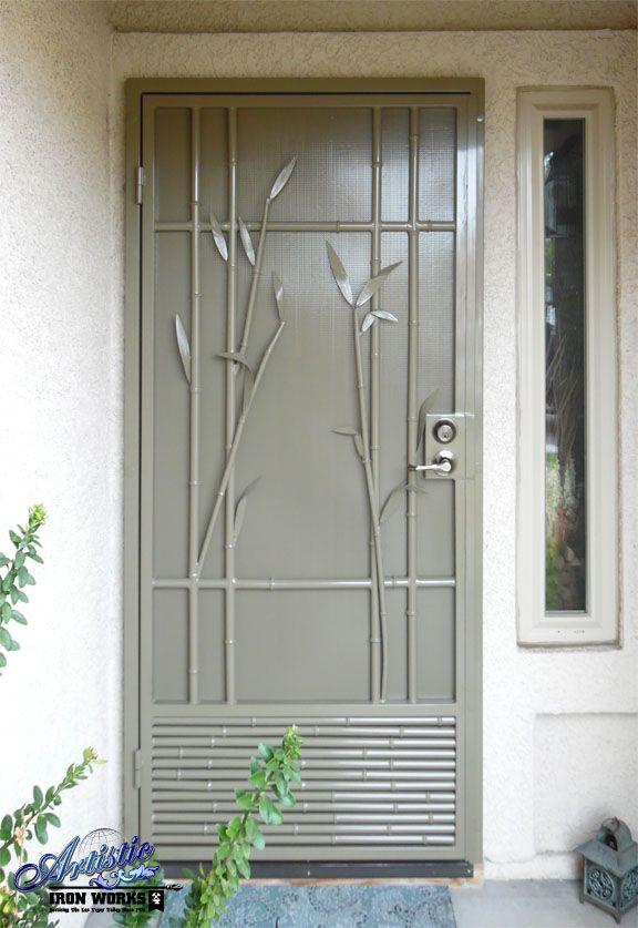 Bali Wrought Iron Bamboo Security Screen Door Model