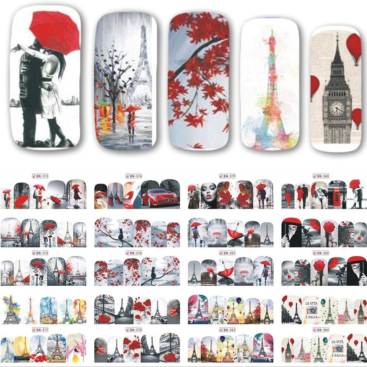 12 Ontwerpen/set Nieuwe Decals Nail Art Water Romantische Rode Beauty Lady Transfer Stickers Volledige Wraps Nail Tips Decoratie SABN373-384
