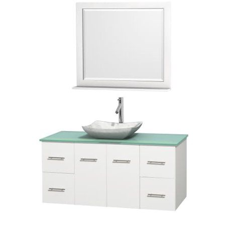 Wyndham Collection Centra 48 inch Single Bathroom Vanity in Matte White, Green Glass Countertop, Avalon White Carrera Marble Sink, and 36 inch Mirror