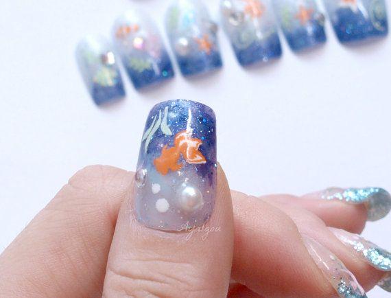 aquarium nail fish blue