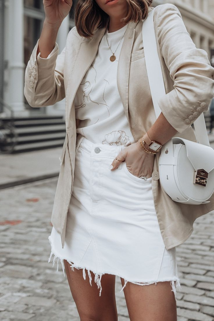 34852d639614 Blazer (Mango last season similar here) | Bag via Salar Milano | Denim Mini  Skirt | Shirt via Sabo skirt | PVC Heels via Tony Bianco Linen and denim  are ...