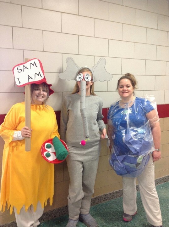 Dr. Seuss dress-up day: Sam-I-Am, Horton, and Fish Bowl for one fish, two fish, red fish, blue fish.