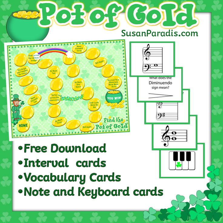 Pot of Gold I've been testing out my new elementary level St. Patrick's Day game, Pot of Gold, and it is fast and fun! It is a board game, where students answer a music question, roll a die,  and m...
