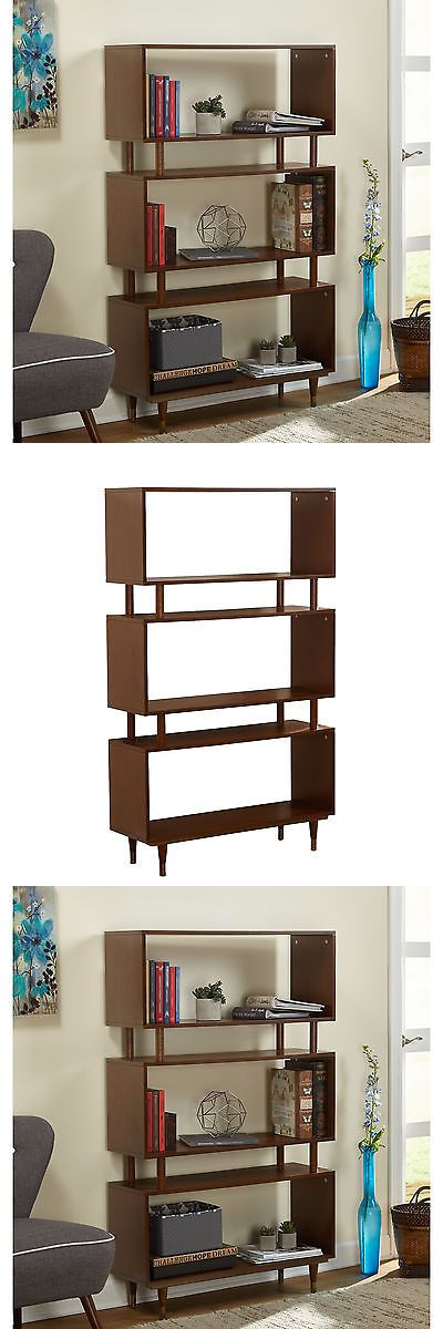 Bookcases 3199: Mid Century Bookcase Modern Bookshelf Cabinet Walnut Brown Retro Display Stand -> BUY IT NOW ONLY: $249.9 on eBay!