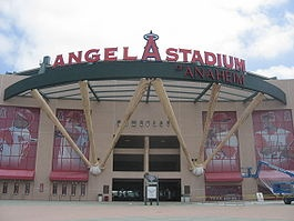 Angel Stadium of Anaheim - One of two MLB parks equally close to home; saw games here before and after renovation. It's better now (with the NFL stands gone).  Okay amenities (can be a long way from the good food stands), but parking's the easiest of any park- can park right near the gate, then get out at the end of the game in minutes and be on the 22 with little delay.