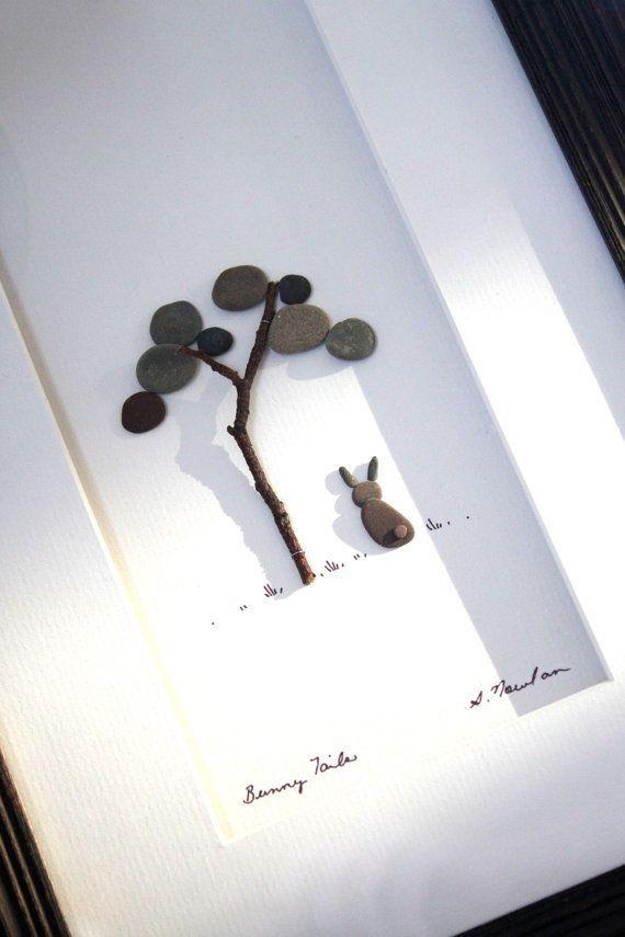 Steinbild mit Baum & Hase