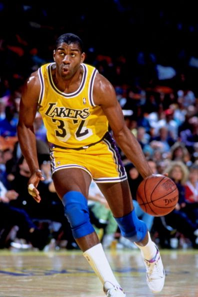 d8786c67863 Magic Johnson, of the Lakers, handles the ball during a game in Los Angeles,  California. 1985.