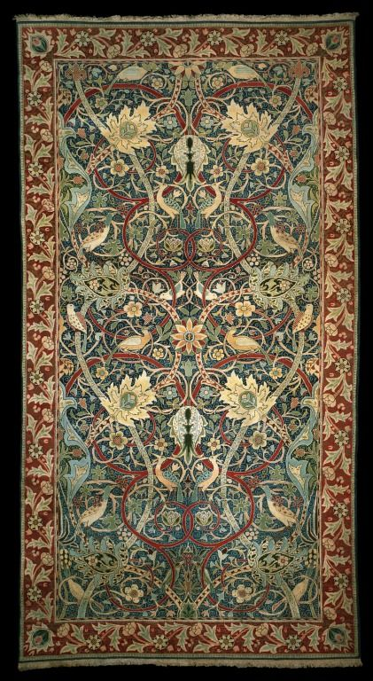 "William Morris ""Hammersmith"" Carpet, 1889 - This hand-knotted carpet is the first weaving of a design made by William Morris and his assistant J.H. Dearle. Description from pinterest.com. I searched for this on bing.com/images"