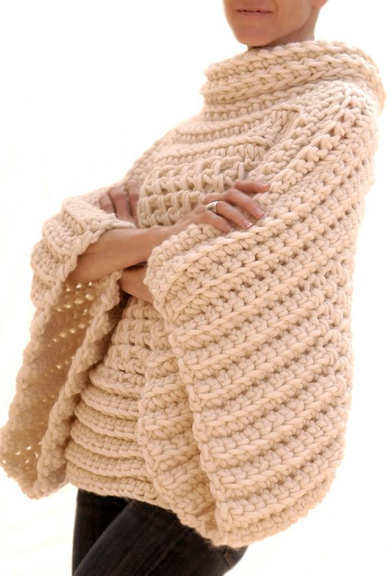 This listing is for the INSTRUCTIONS to make this crochet sweater. This is not a listing for a finished garment.  Using @550-615yds (502-562m) of a super chunky yarn like Magnum by Cascade or Big Wool by Rowan and a Q hook (16mm) or larger depending on gauge this crochet sweater is a quick project for the intermediate to advanced crocheter. A good first sweater project for the advanced beginner looking to challenge themselves since the most complicated techniques are increases in the…