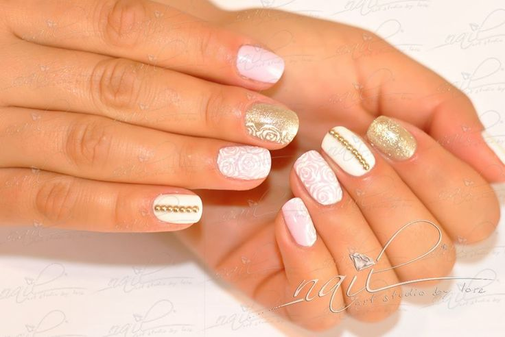 nails manicure  pink gold roses stones white