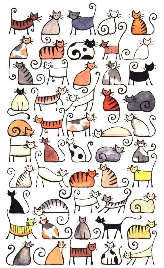 Cat line drawings with some color washes