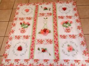 Or you can make a whole zuilt with all of the 3D roses machine embroidered designs! Includes hanging basket, flowers sprays and open rose bud.