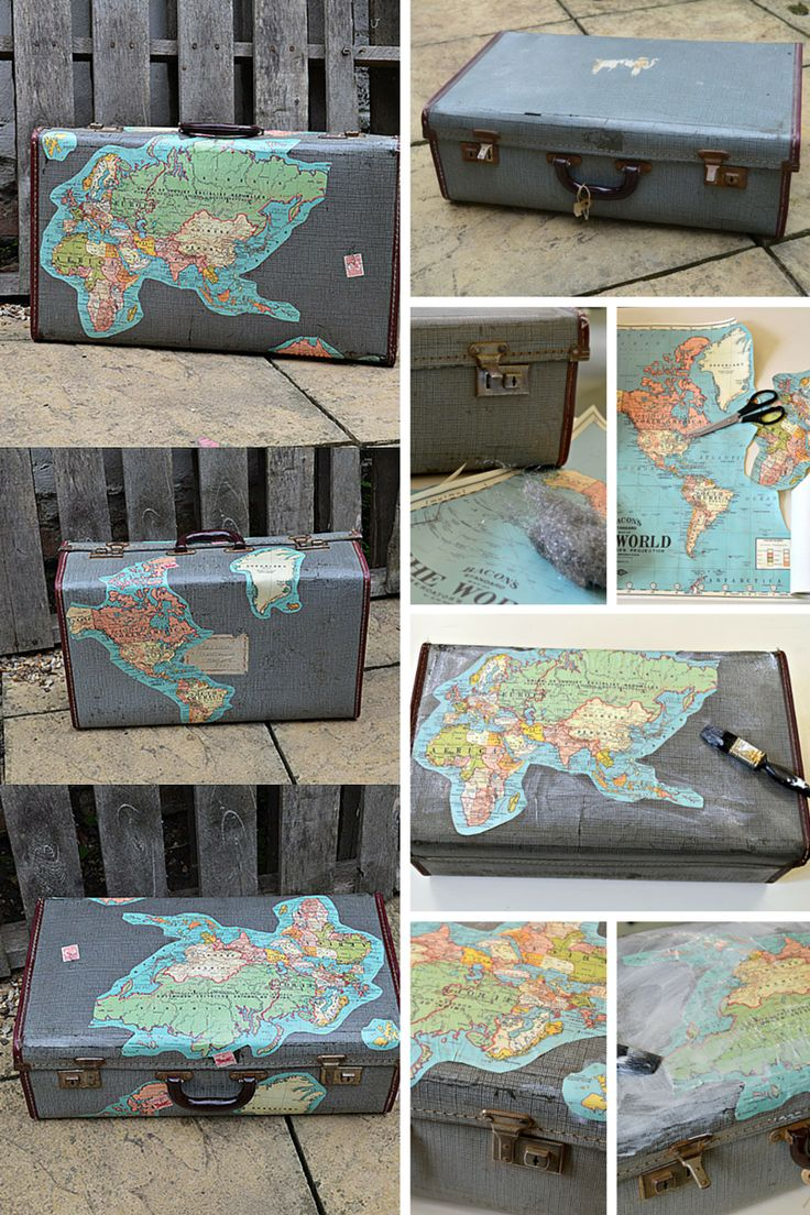 Transform an old suitcase with maps.  Wait till you see the inside it gets even better.