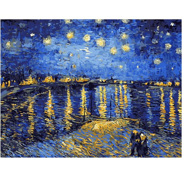 Self-Paint By Numbers Kit Starry Night Sky Rhone River Van Gogh 40CMx50CM Canvas | eBay